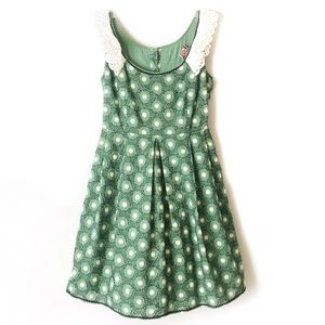 Juicy Couture embroidered soft green Ruffle Dress